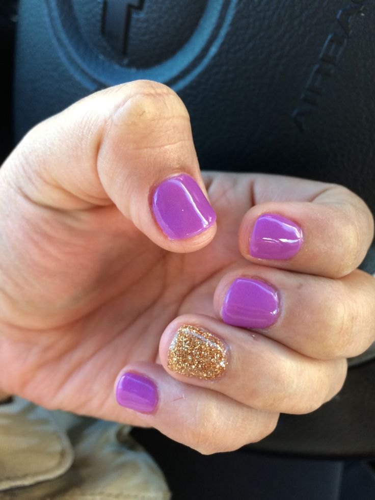 NexGen nails purple and gold glitter | Halloween Nails | Pinterest ...