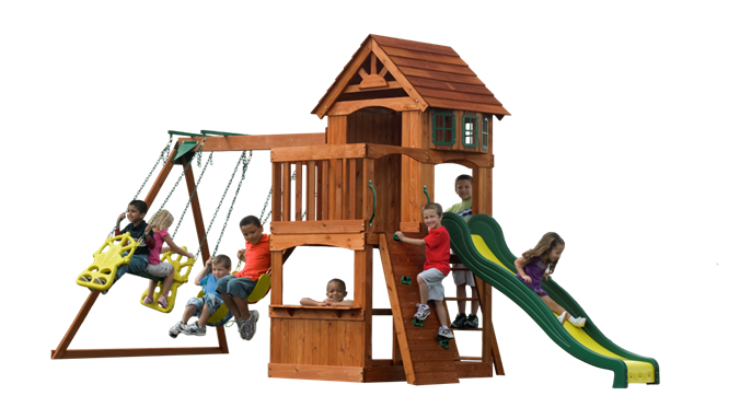 Outdoor Wooden Backyard Atlantis Kidsu0027 Playset Swingset With Swings, Slide,  Sandbox And Rockwall
