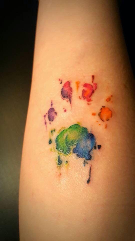 Watercolor Cat Paw Print Pawprint Tattoo Tattoos Cat Paw Print