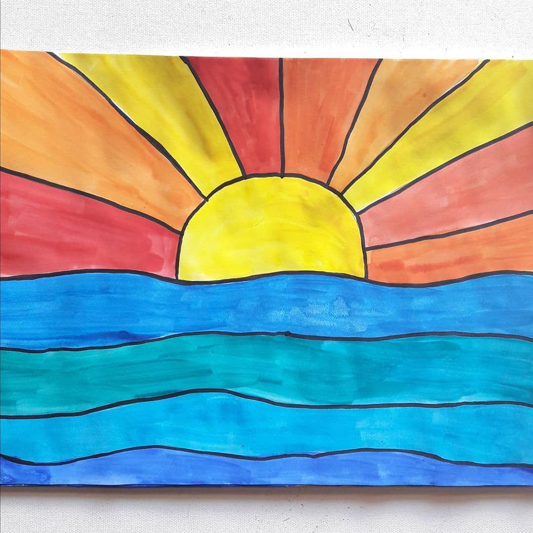 kalte und warme farben farbtheorie in der grundschule mit dem bild sonnenuntergang ber dem. Black Bedroom Furniture Sets. Home Design Ideas