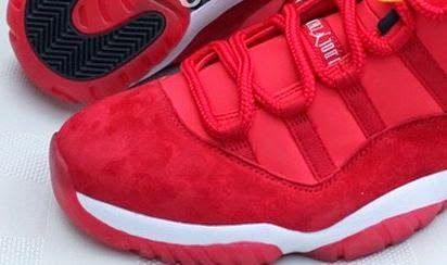 on feet at great fit exclusive shoes THE SNEAKER ADDICT: Air Jordan 11 Low Red Suede Sample ...