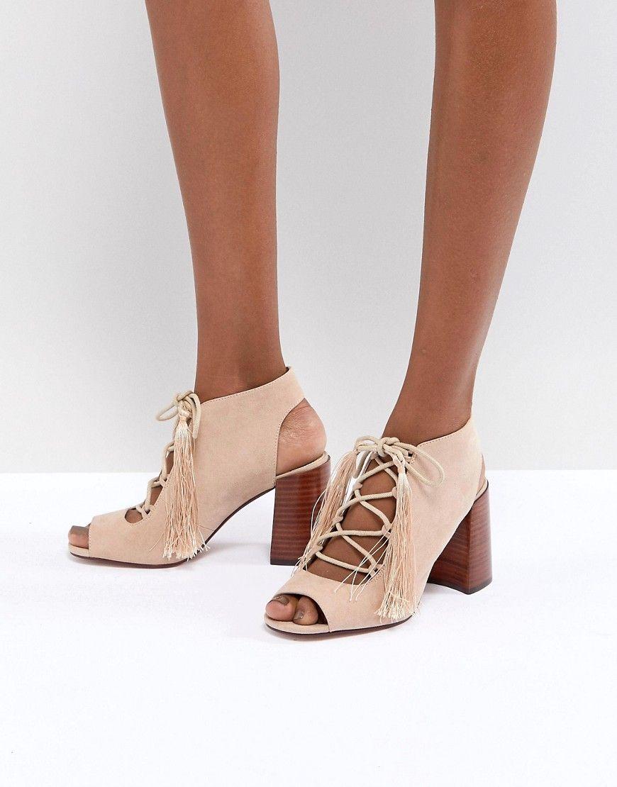 15e7924cfc6a3f High Heels - ASOS TONIC Geschnürte Sandalen mit Absatz in Rosa  High-Heels