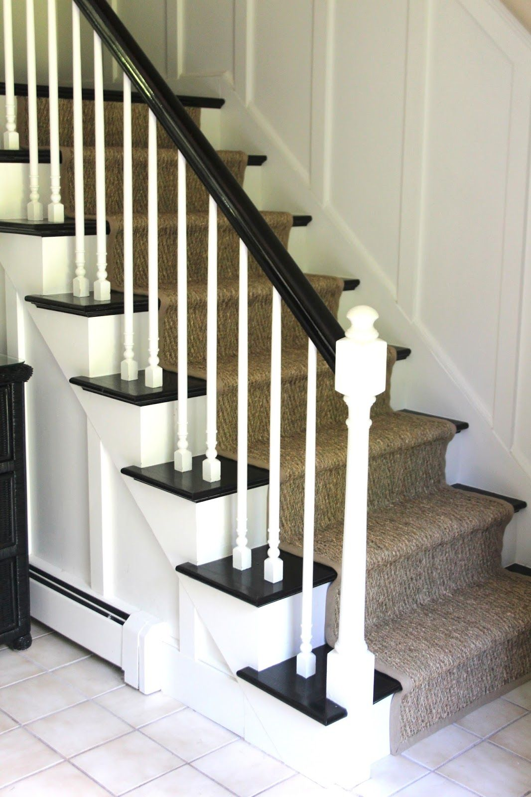 Best White And Black Stairs With Seagrass Runner Google 400 x 300