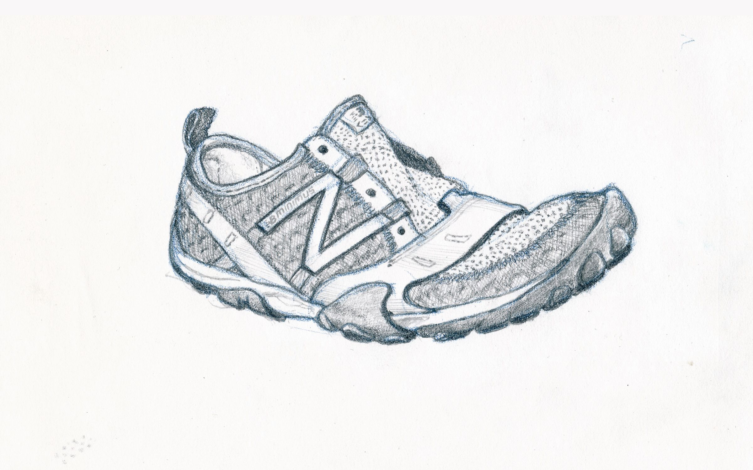 a pencil drawing of my running shoe :- Uploaded from my hardrive.