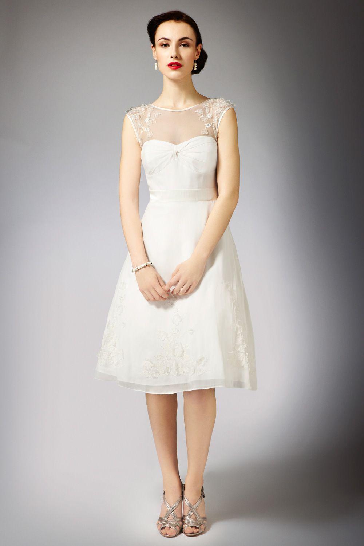 vintage style floral applique tea length wedding dress $500. I ...