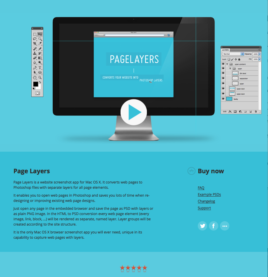 Page Layers App for Mac converts Website screenshots into