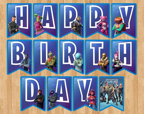 image relating to Fortnite Printable Images referred to as Fortnite Birthday Banner, Fortnite Flag Pennant Get together Badge