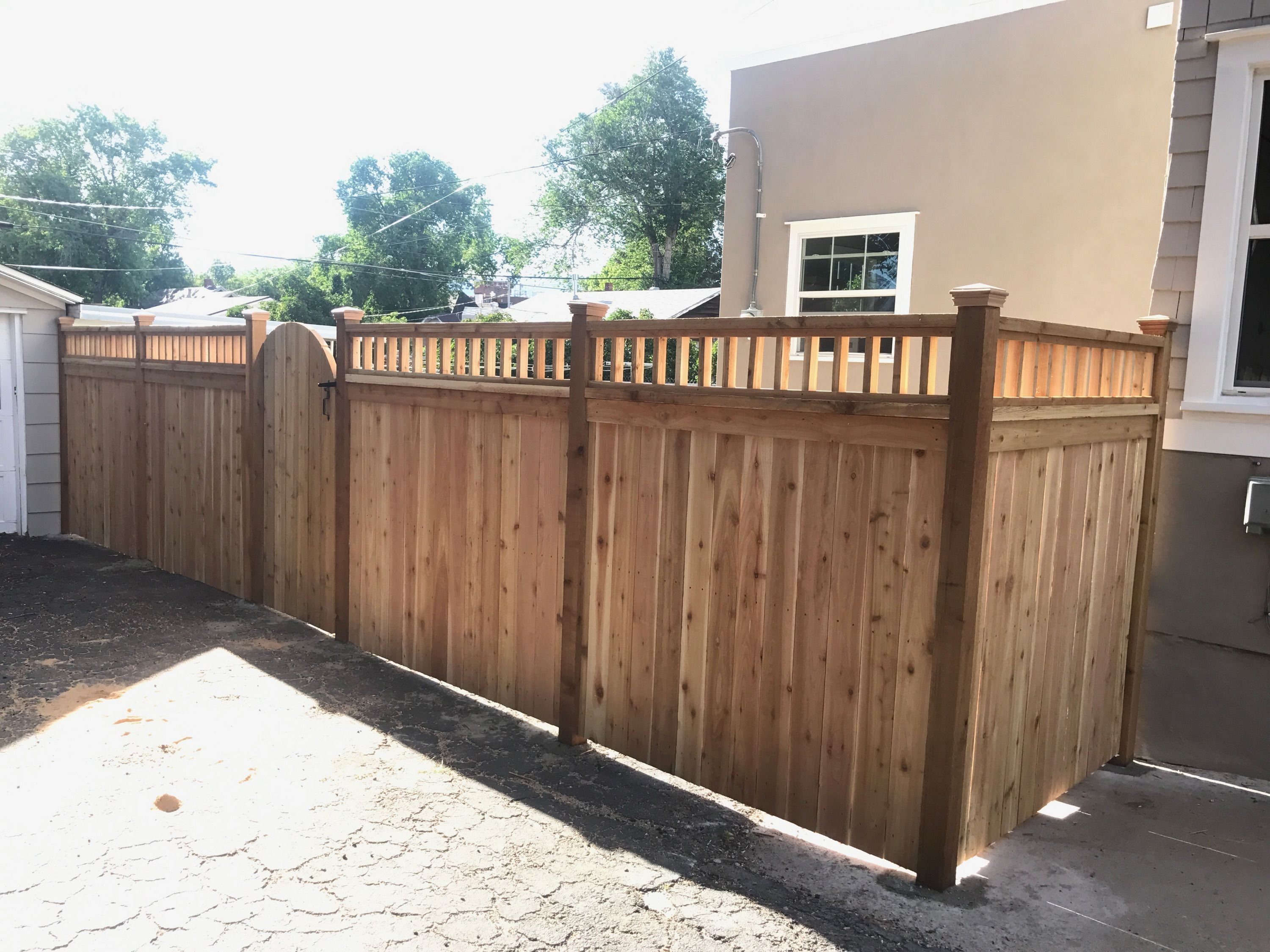 Craftsman Style Cedar Privacy Wood Fence With A Custom