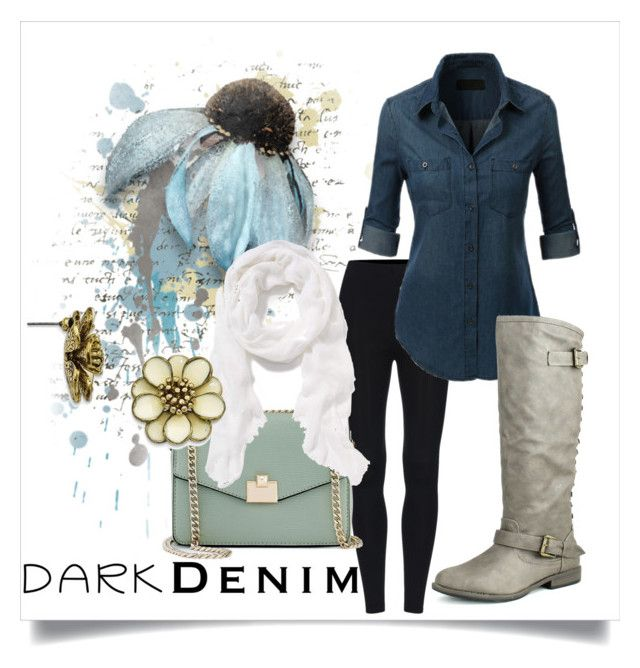 """""""Dark Denim"""" by brittany-deweese ❤ liked on Polyvore featuring Bamboo, Jennifer Lopez, Old Navy and 1928"""