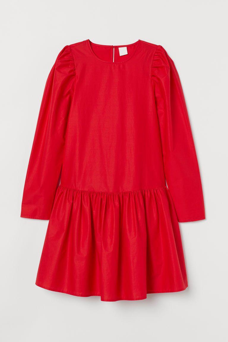 Kleid Aus Baumwollpopeline Rot Anziehen Kleider Kleider H M