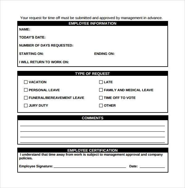 Time Off Request Form 6 Templates Pinterest Time off request