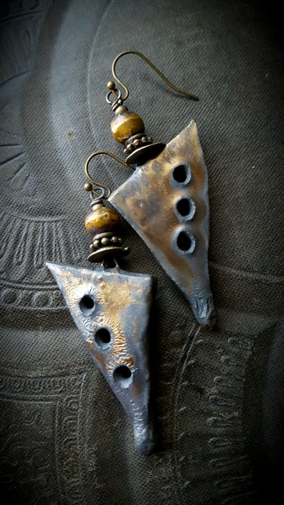 Ceramic, Daggers, Porcelain, Charms, Drops, Earthy, Funky, Copper ...