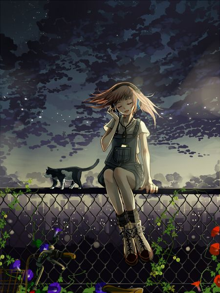 Anime Girl Sitting On A Fence With Her Cat Anime In