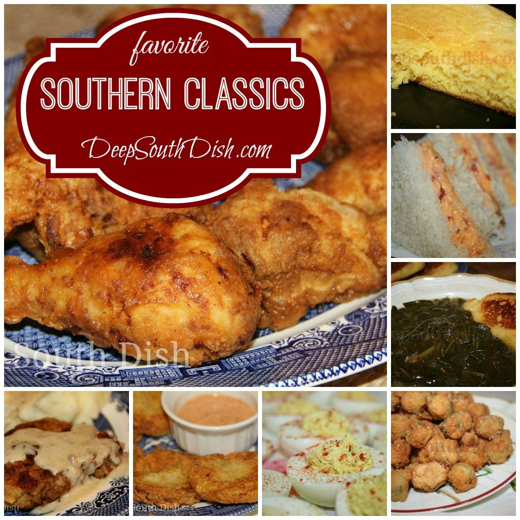 Fried chicken, skillet cornbread, pimento cheese, collard greens and hoecakes, chicken fried steak, fried green tomatoes, deviled eggs, fried okra and much more. All your Southern Favorites and Classic Old Fashioned Southern Recipes from Deep South Dish.