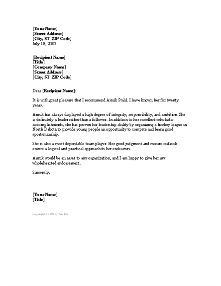 formal character reference letter templates