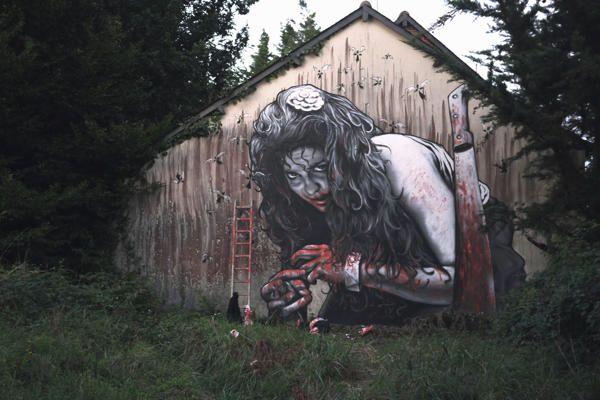 Death in the woods scene. Artist unknown