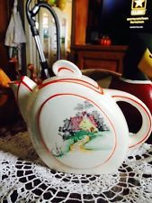 Awesome Art Deco Hand Painted Japan Teapot Vintage Cottage And Gardens