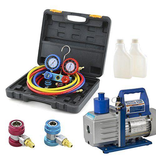 Arksen 12hp Single Stage 5cfm Vacuum Pump Ac Manifold Gauge Kit For R134a Click Image To Review More Details Vacuum Pump Vacuums Hvac