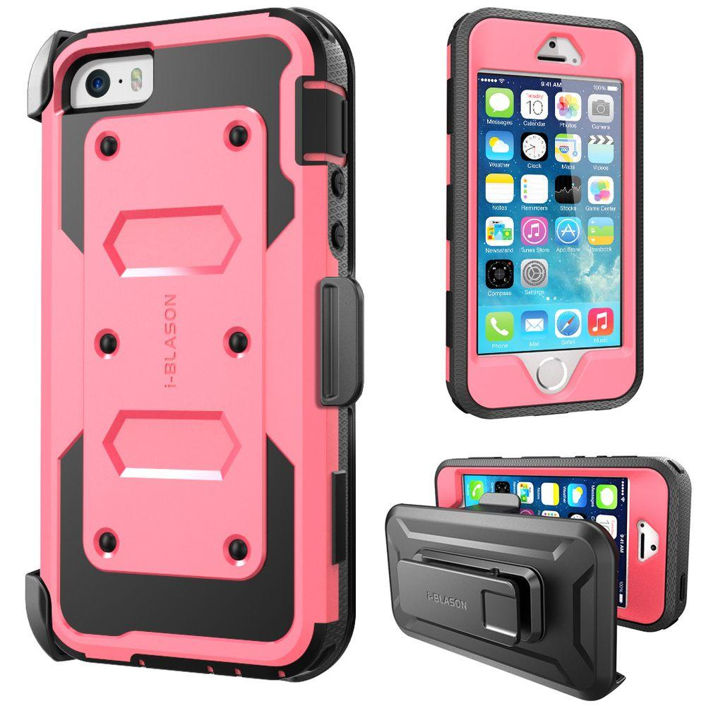 3dbcb55dd4 i-Blason iPhone 5S Armorbox Series Full Body Case with Screen Protector and  Holster, Pink