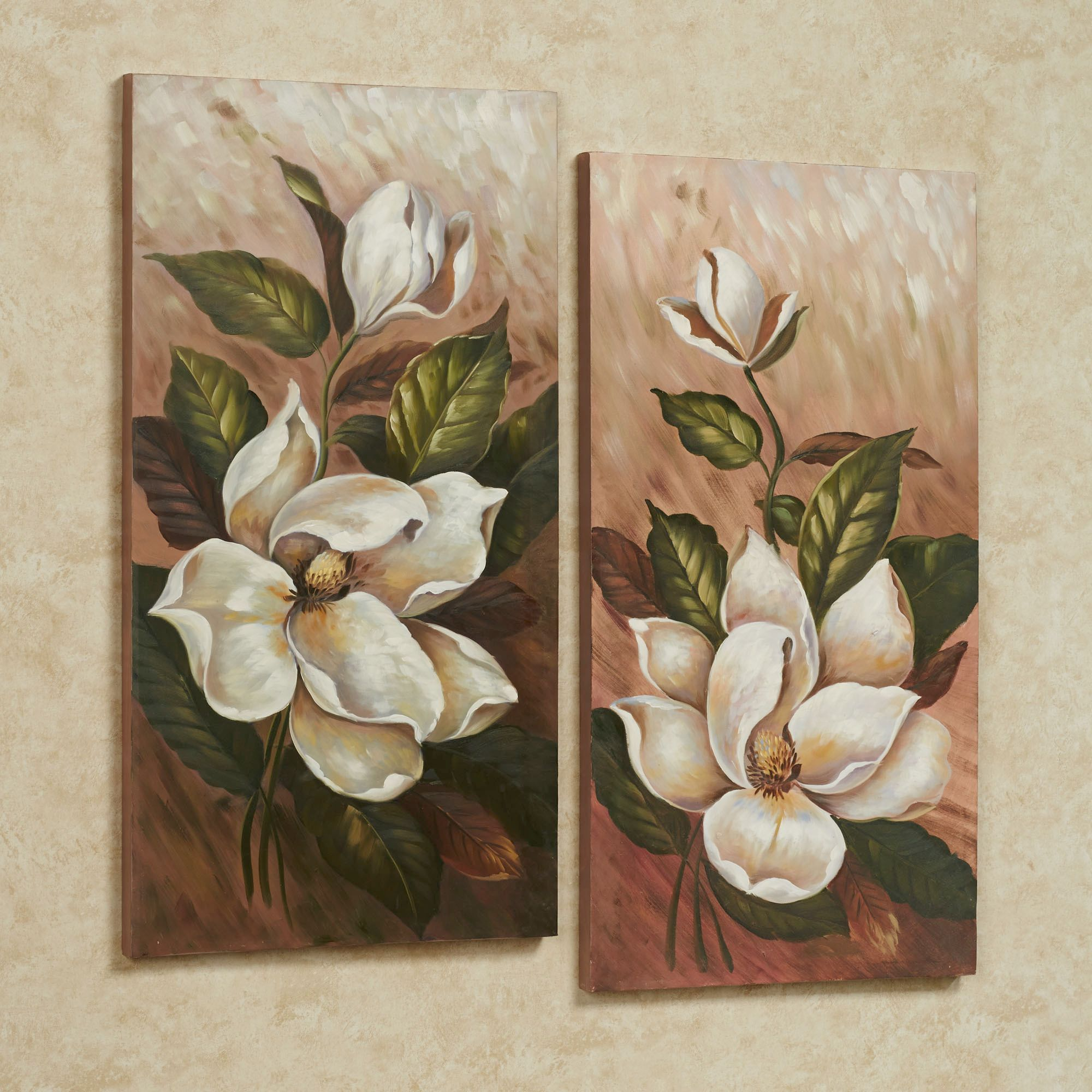 Annalynn Magnolia Floral Canvas Wall Art Set Wall Art