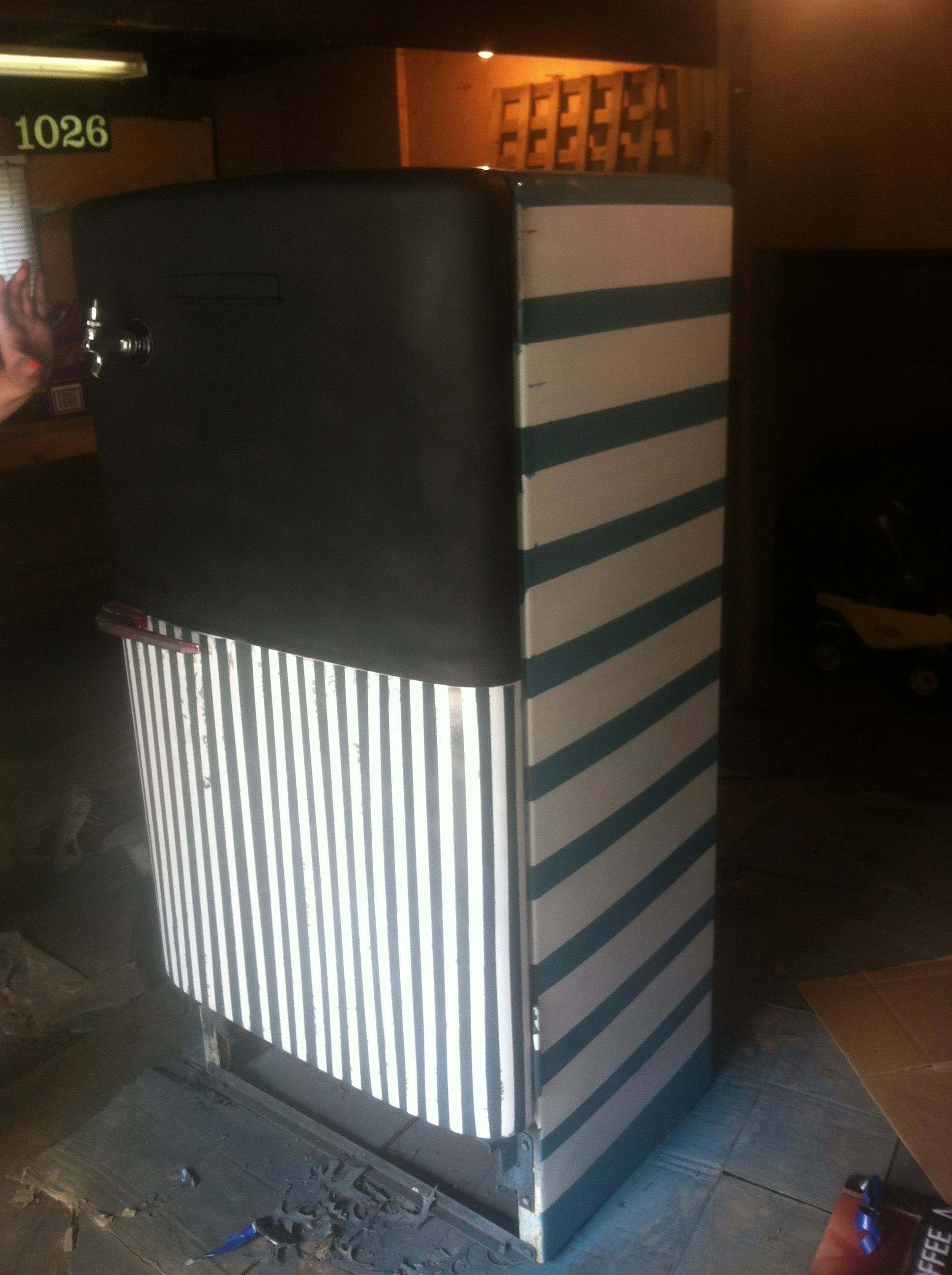 Old keggerator painted to look like new!! Would recommend valspar spray paint $4.89 per can!