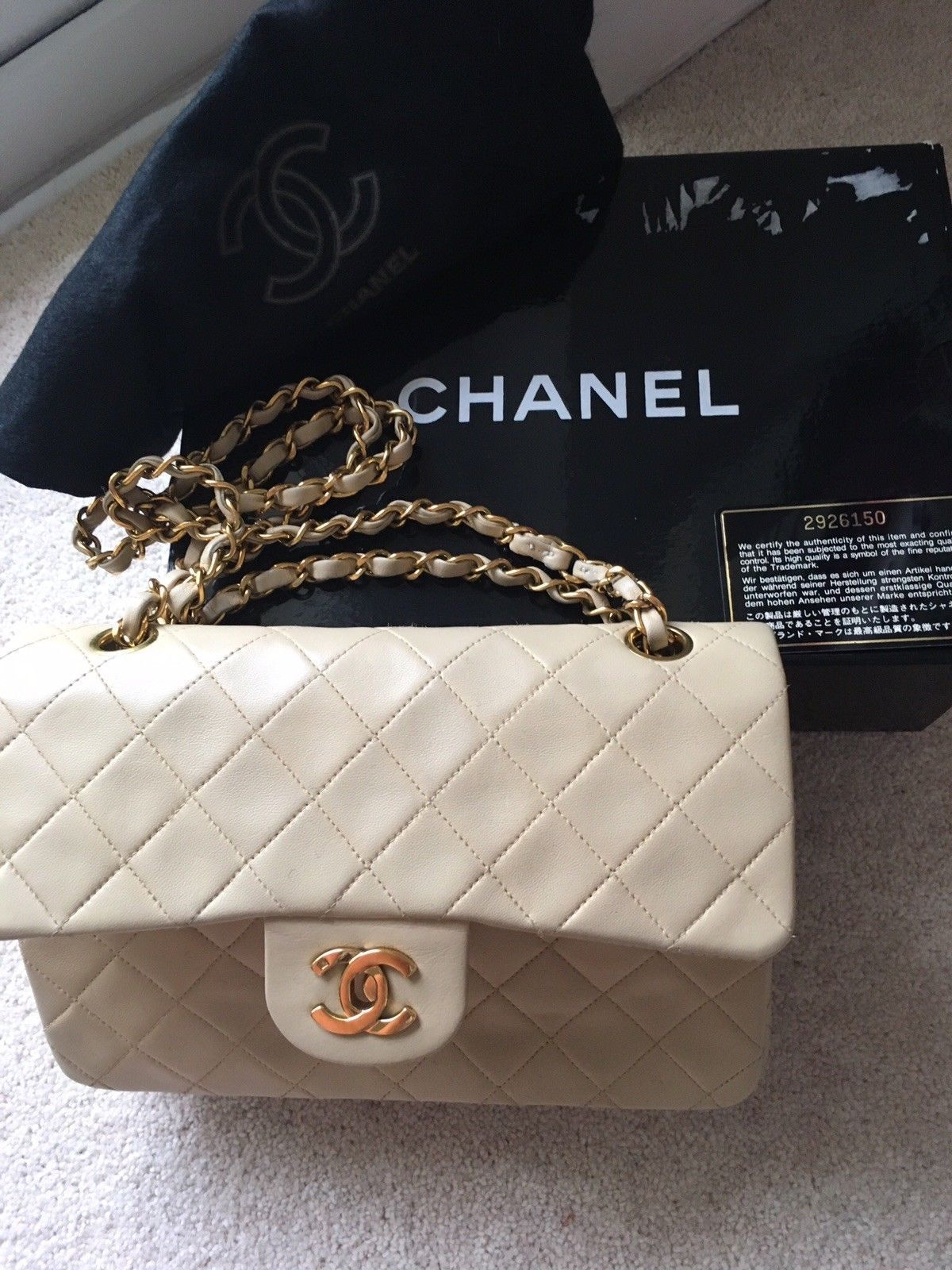 CHANEL BEIGE QUILTED LAMBSKIN VINTAGE SMALL CLASSIC DOUBLE FLAP BAG RARE 24K 6cd88a10e368d