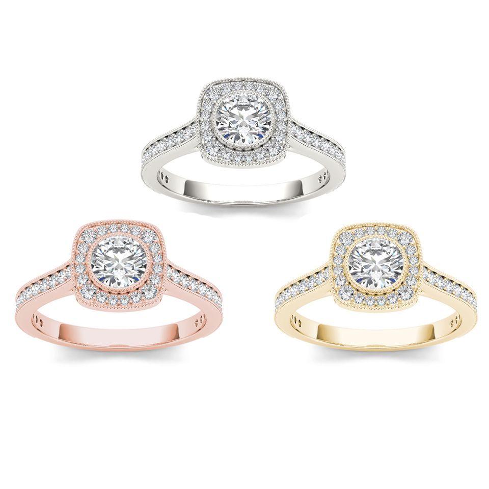 Miadora signature collection 14k white gold 1ct tdw diamond double row - De Couer 14k Gold 1ct Tdw Diamond Halo Engagement Ring H I I2