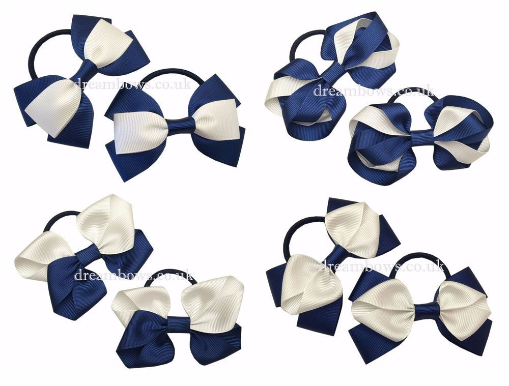 thick hair bobbles or alligator clips school accessories Navy blue hair bows