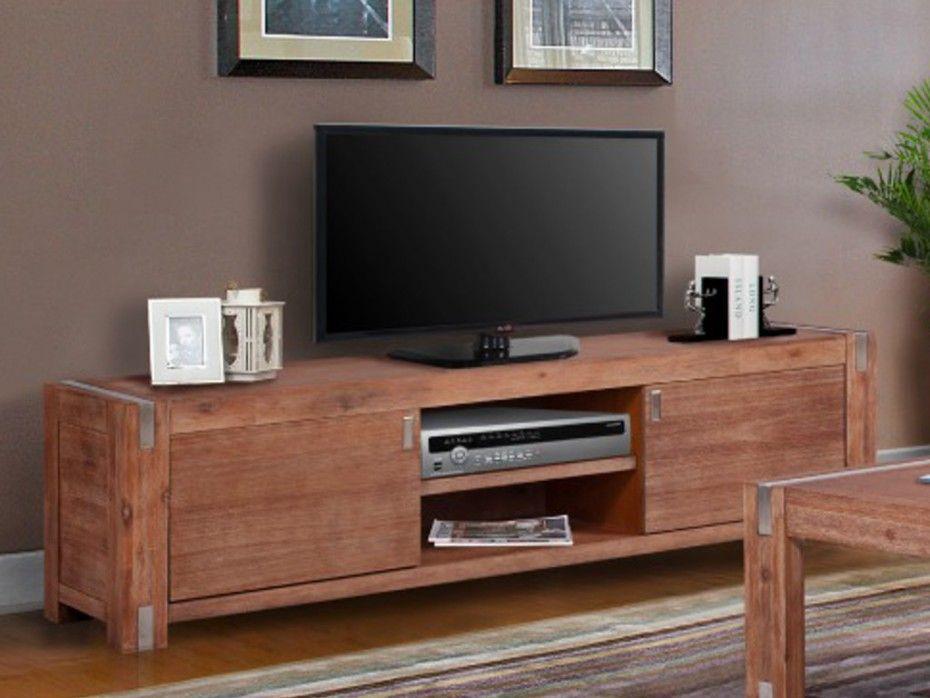 Mueble TV de 2 puertas de madera y metal cerezo OAKLAND | salon ...