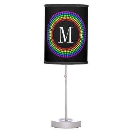 Classy Modern Black Rainbow Dots White Monogram Desk Lamp   Initial Gift  Idea Style Unique Special