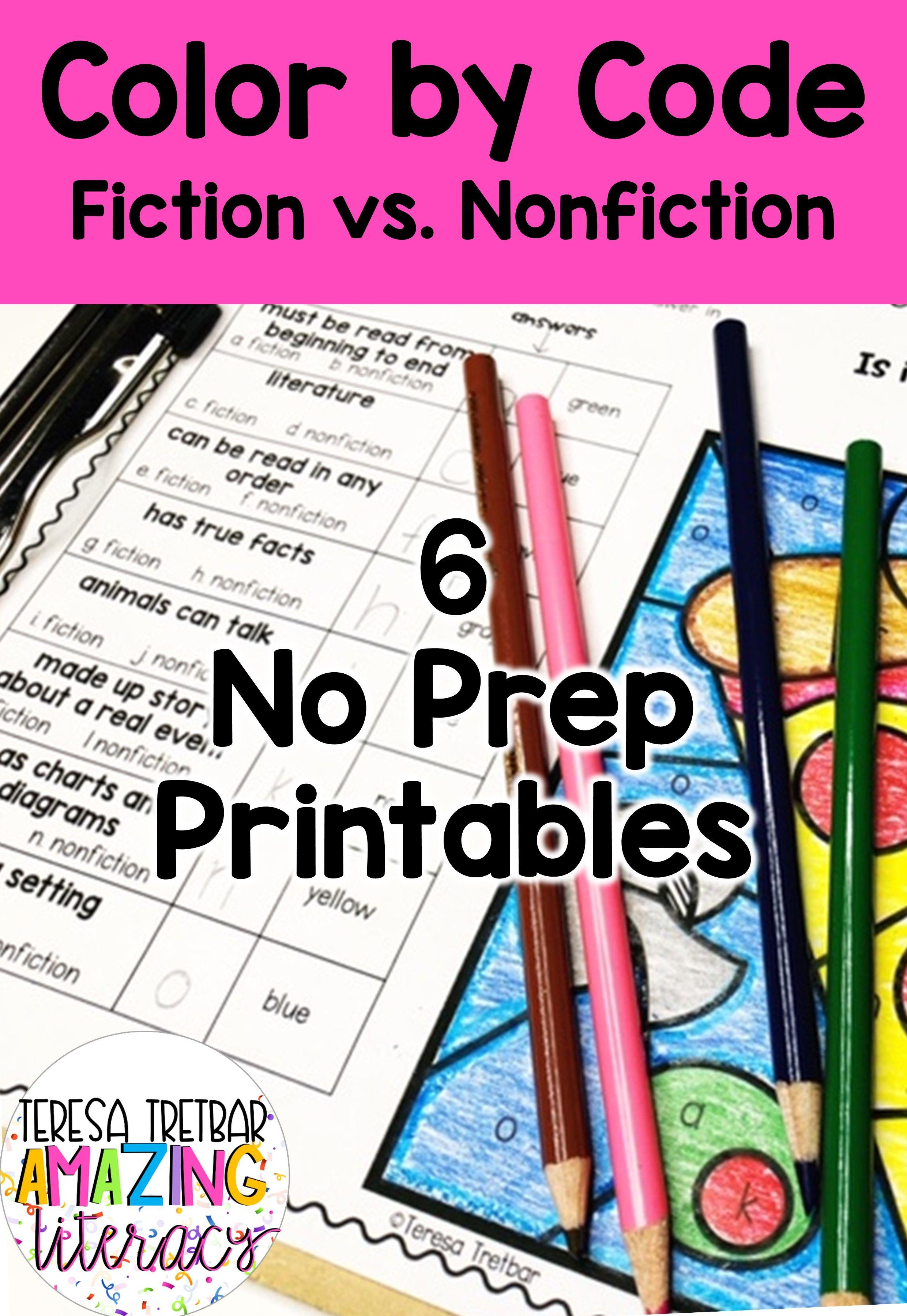 Fiction Vs Nonfiction Color By Code