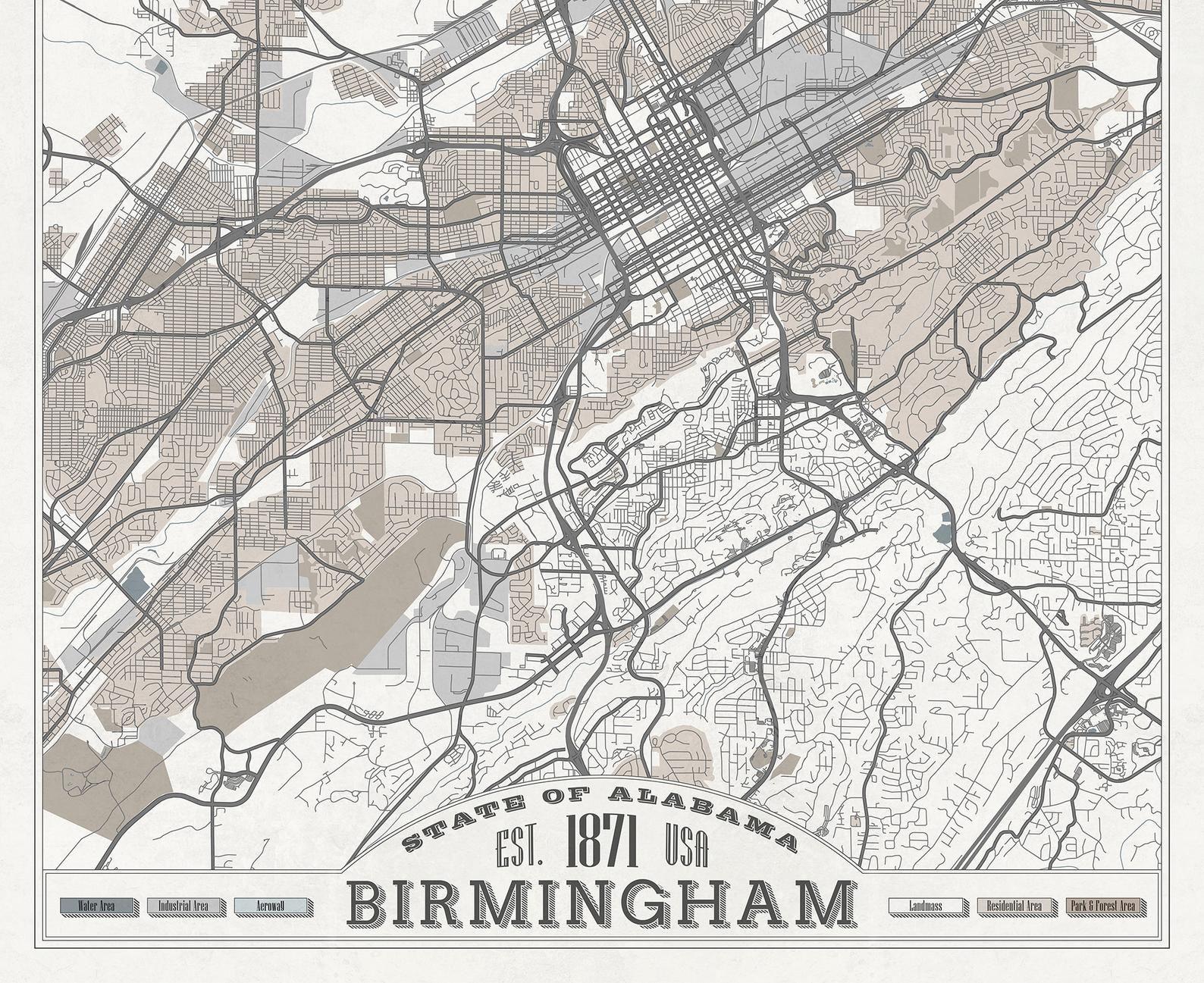 BIRMINGHAM AL Canvas Map Alabama City Street Map Pastel