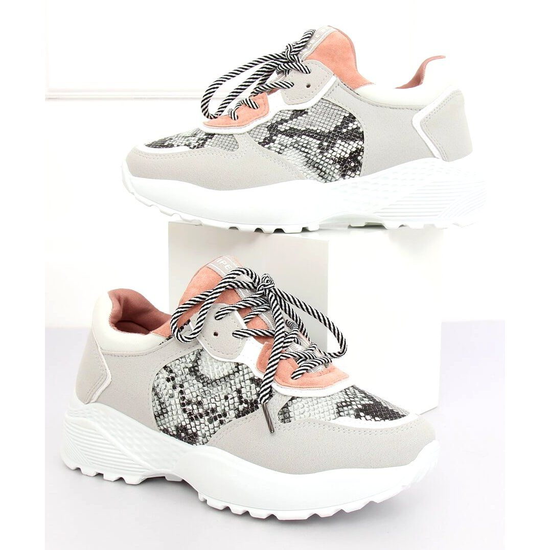 Buty Sportowe Szare Bl170p Snake Skin Rozowe Pink Sport Shoes Sport Shoes Shoes