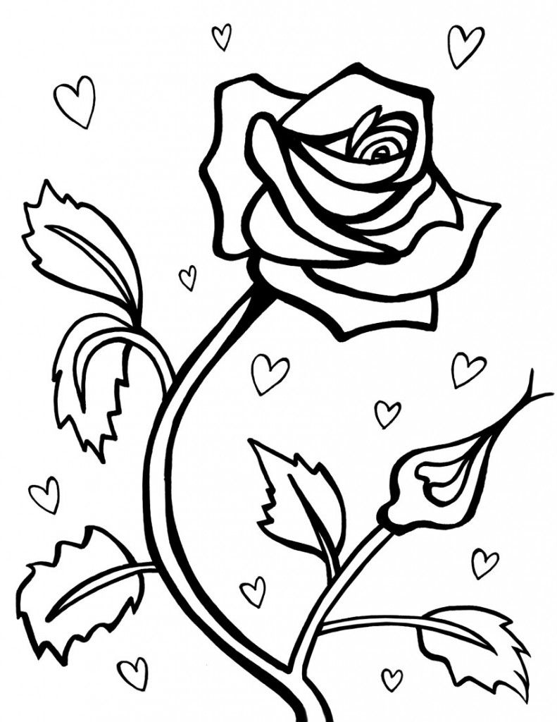f7d03156ec0c9c137f3f3b6f67c4b627 » Rose Coloring Pages Easy