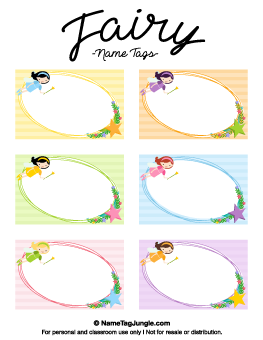 Fairy name tags gift tags pinterest tag templates and free printable fairy name tags negle Gallery