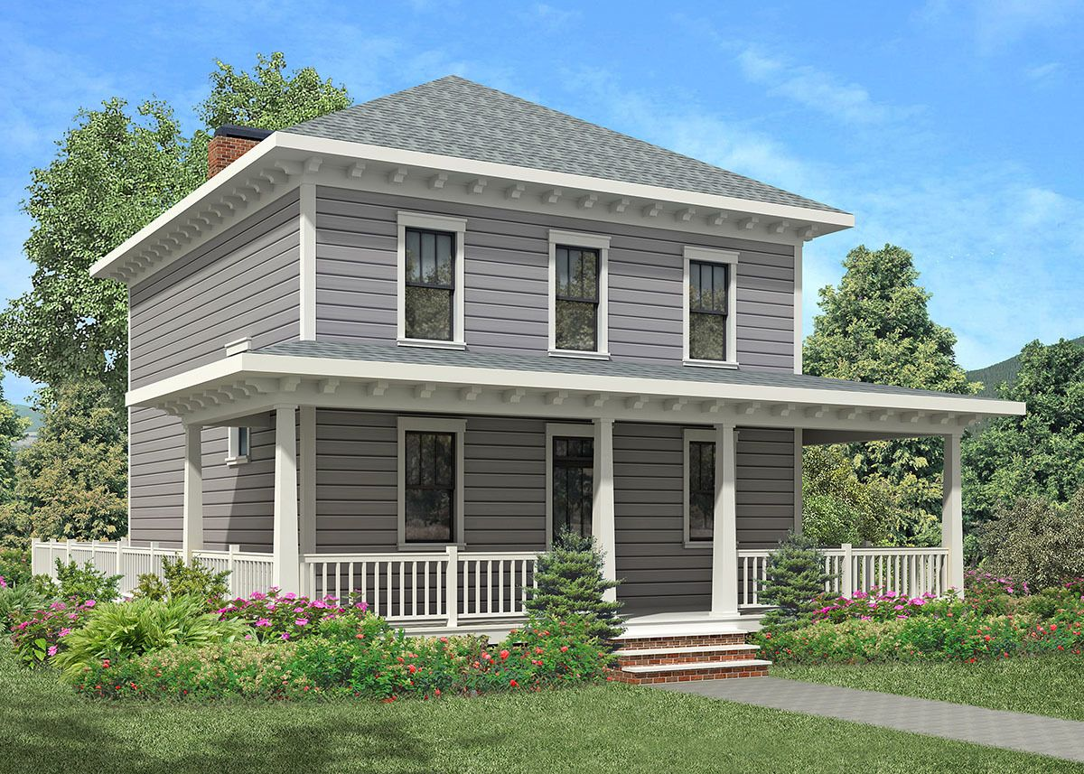 Plan 92053vs Four Square House Plan With Wraparound Porch In 2021 Square House Plans Cottage Style House Plans House Plans