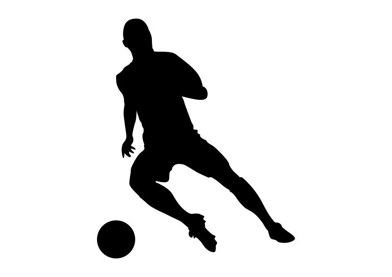 Football Player Black Vector Silhouette On White Background Silhouette Football Background Football