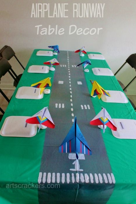 Photo of DIY Table Runner Runway and Place Cards | Airplane Party Theme