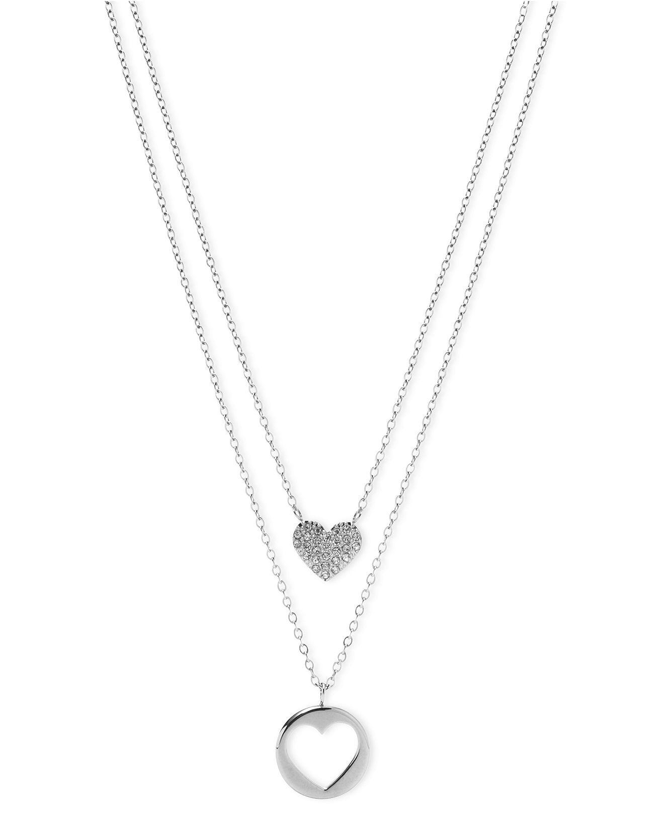 Fossil necklace silver tone heart pendant double chain necklace fossil necklace silver tone heart pendant double chain necklace mozeypictures Gallery