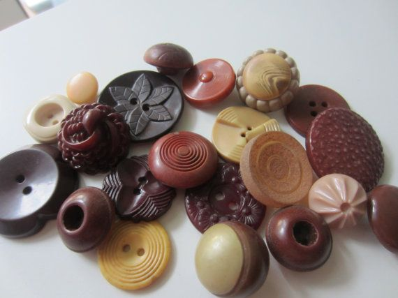 Vintage Buttons  Cottage chic mix of cocoa and by pillowtalkswf, $8.95