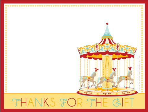 Carnival Thank You Note Free Printable Burke S 1st Birthday