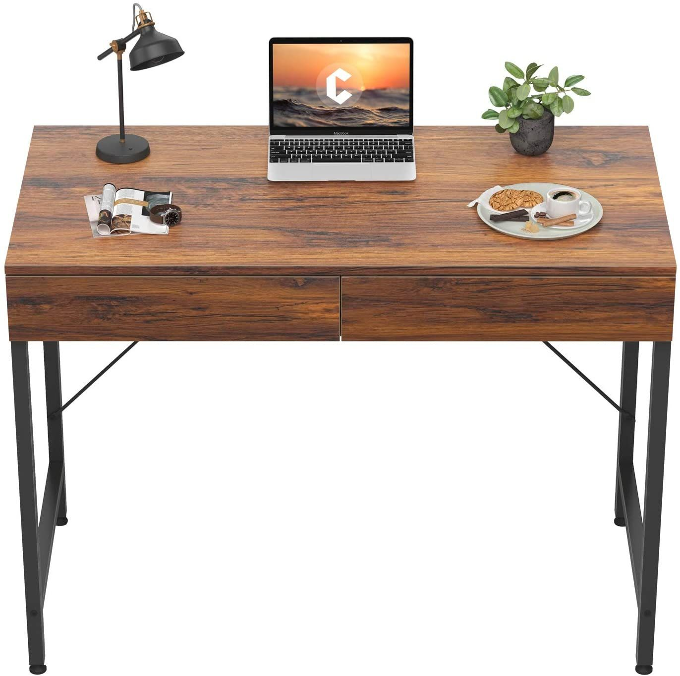 Computer Small Desk 40 Inches With 2 Storage Drawers For Home Office Writing Desk Makeup Vanity Console Table Rustic 4 Different Colors In 2021 Contemporary Computer Desk Unique Display Small Desk Computer desk 40 inches wide