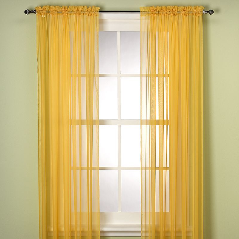 Elegance Sheer Window Curtain Panel Yellow Sheer Curtains Sheer Window Panels Yellow Curtains