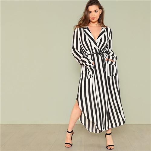 Black And White Stripe V Neck Dress  c808bb2fb837