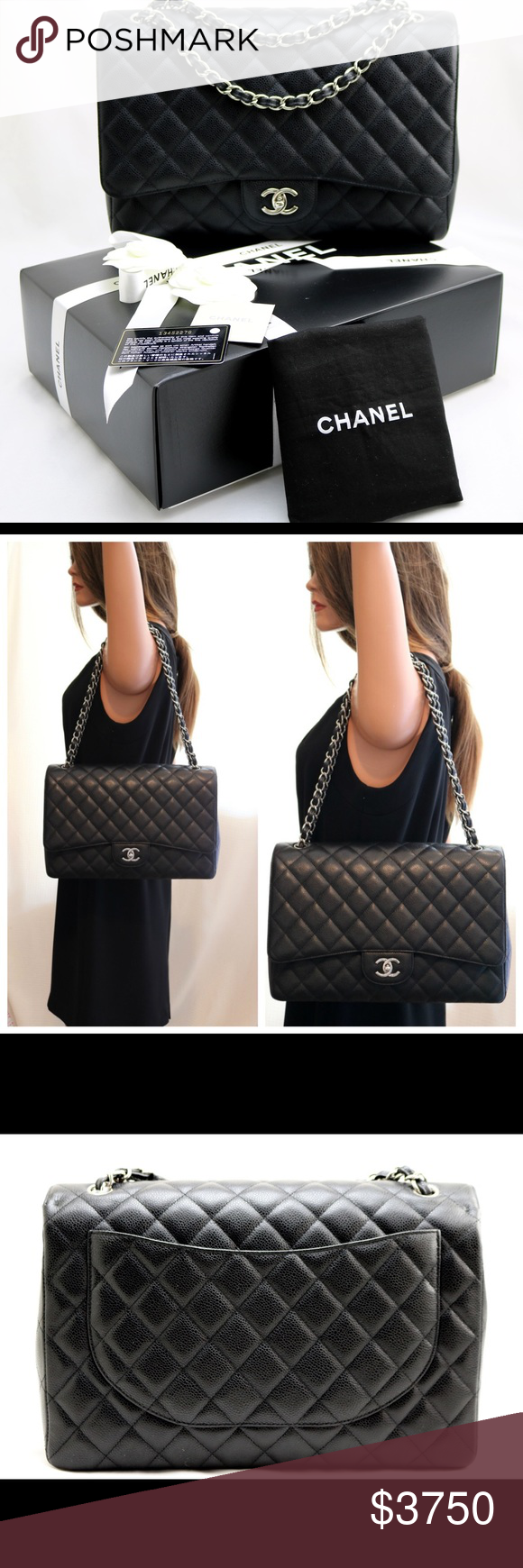 a0d50b32e4f1b2 Chanel XL Jumbo Maxi Caviar Classic Flap Bag Brand New 100% Authentic Chanel  XL Jumbo Maxi Black Caviar Leather Classic Single Flap Bag CHANEL Bags  Shoulder ...