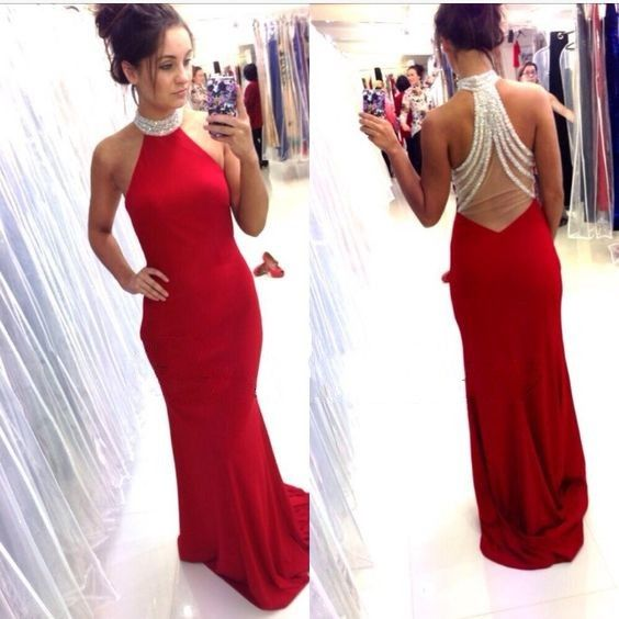 Open Back Red Mermaid Prom Dress,Halter Neckline Red Prom Gown ...