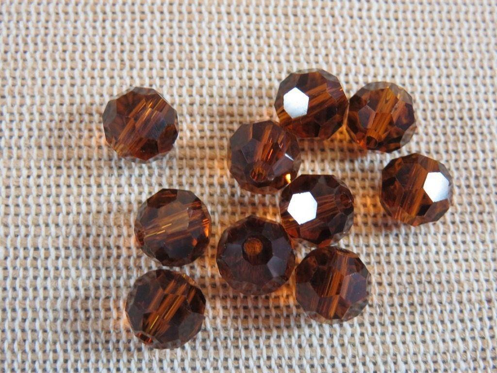 20pcs, perles marron 8mm, perles en verre, perles à facette, perles facette 8mm, lot 20 perles, verre à facette 8mm, perles pour bijoux de la boutique ArtKen6L sur Etsy