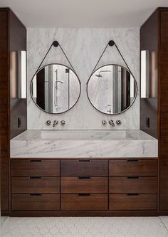 Double Round Mirrors And Marble Vanity Love This For The Master Bath Modern Bathroom Bathroom Design Round Mirror Bathroom