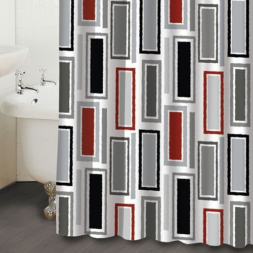 Contemporary Shower Curtains Rectangles Red Black White Fabric