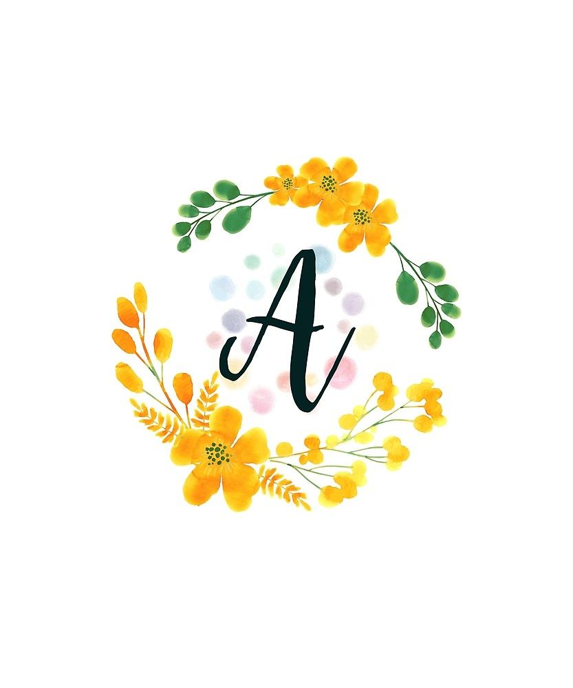Monogram A Happy Yellow Flowers Sticker By Floralmonogram In 2021 Alphabet Wallpaper Floral Letters Stylish Alphabets